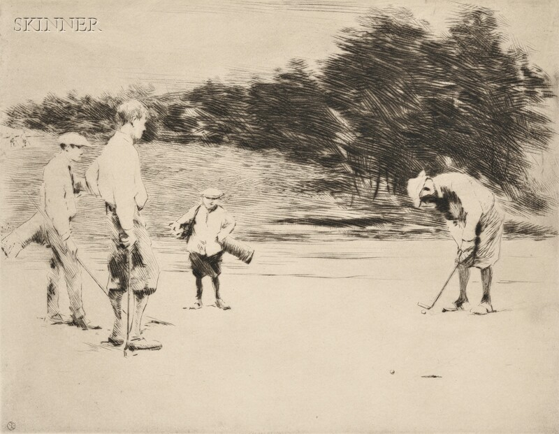 Sears Gallagher (American, 1869-1955)      Two Images: The Putt