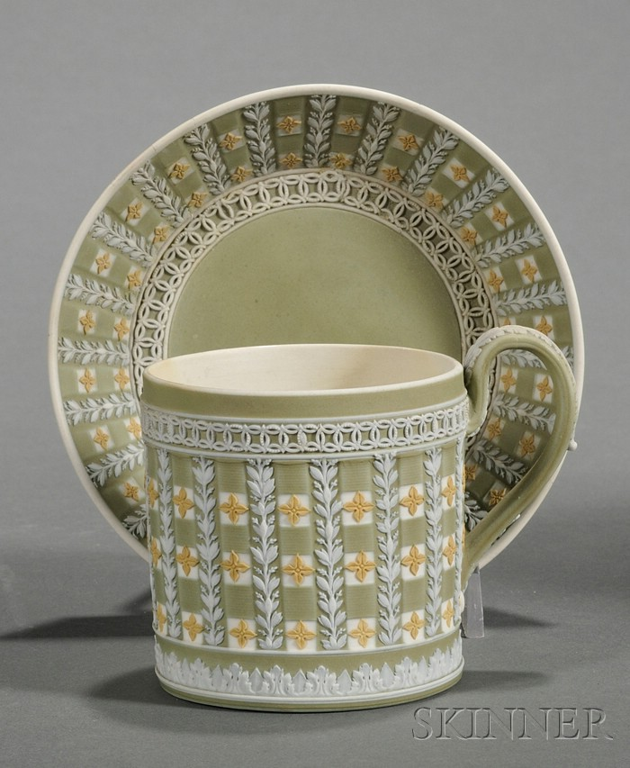 Wedgwood Three-Color Jasper Dip Diceware Coffee Can and Saucer