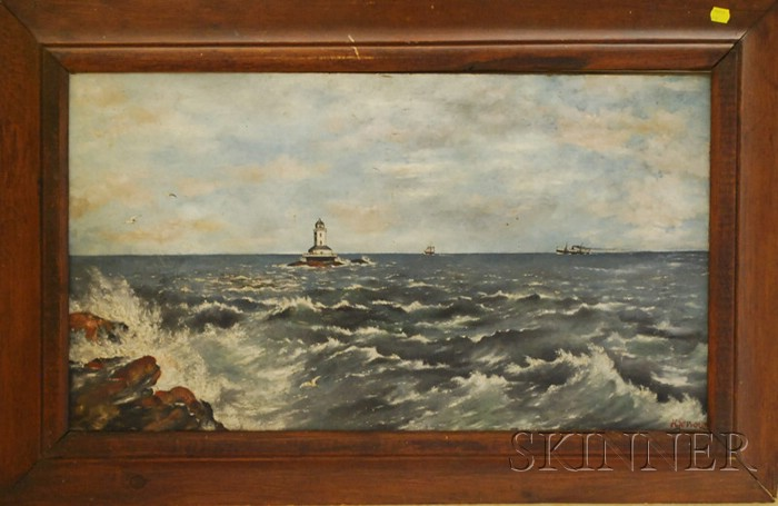 Framed 19th/20th Century American School Folk Art Oil on Board Seascape with   Lighthouse
