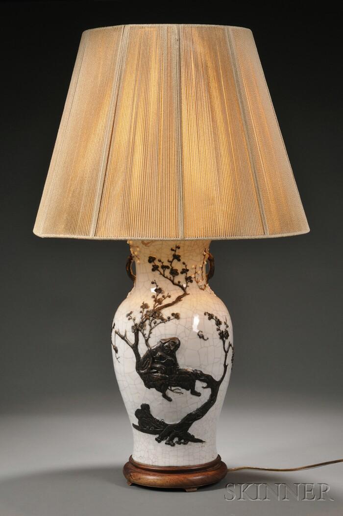 Modern Asian Crackle-glaze Porcelain Table Lamp