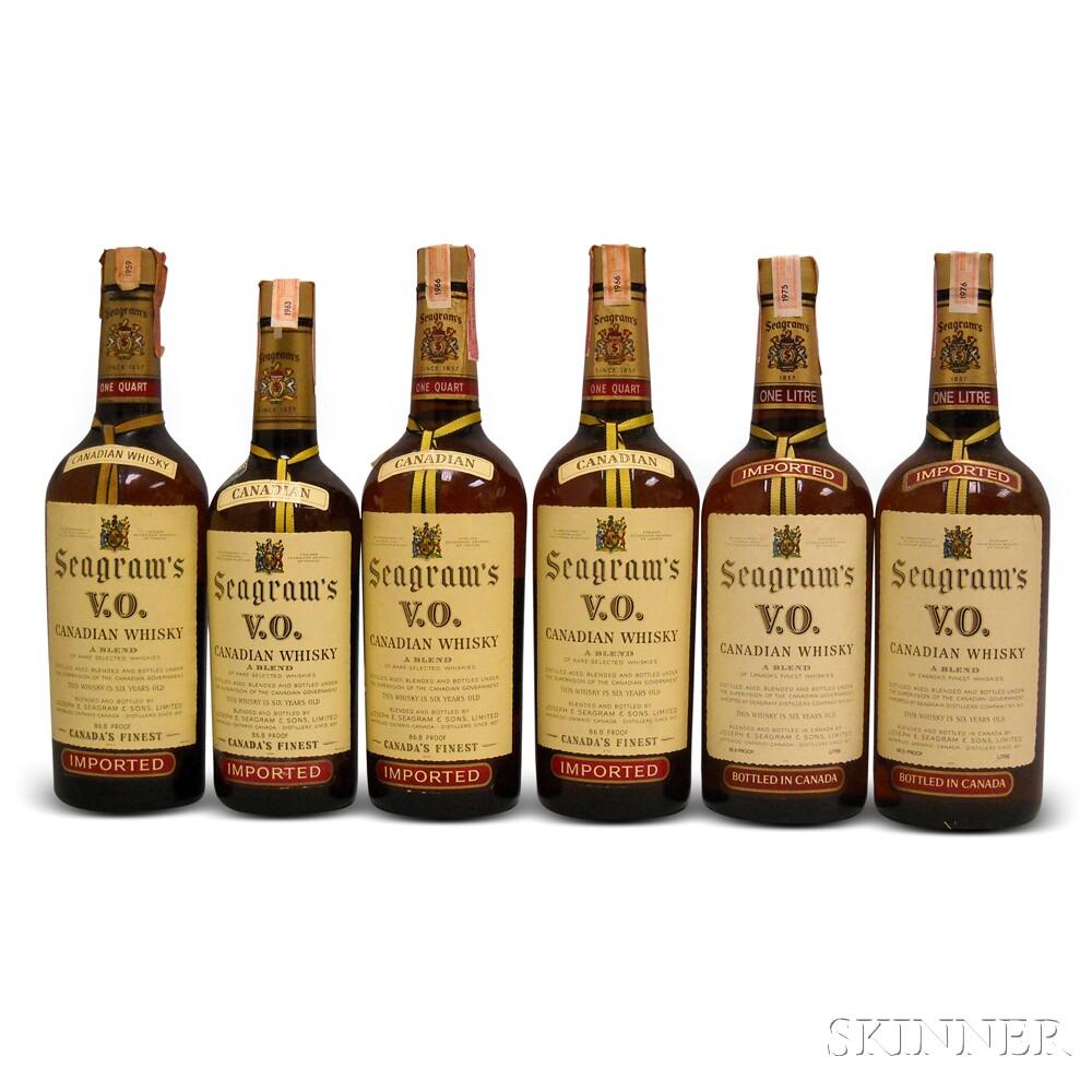 Seagrams VO Vertical, 1 4/5 quart bottle 4 quart bottles 2 liter bottles