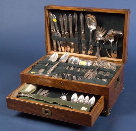"Towle Sterling ""Mary Chilton"" Flatware Service with Oak Chest"