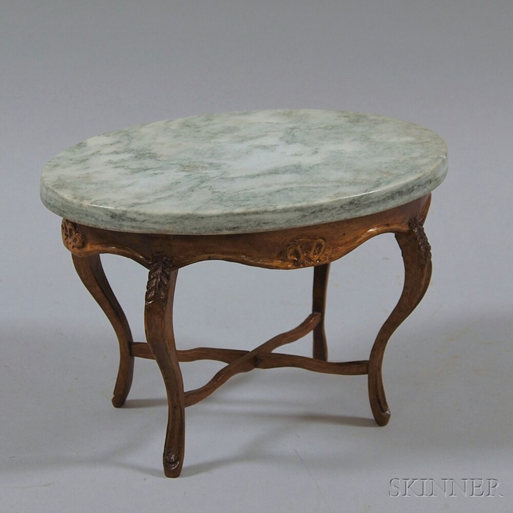 Miniature Marble-topped Oval Doll's Table