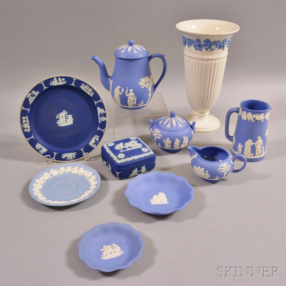 Ten Wedgwood Jasper and Embossed Queen's Ware Items