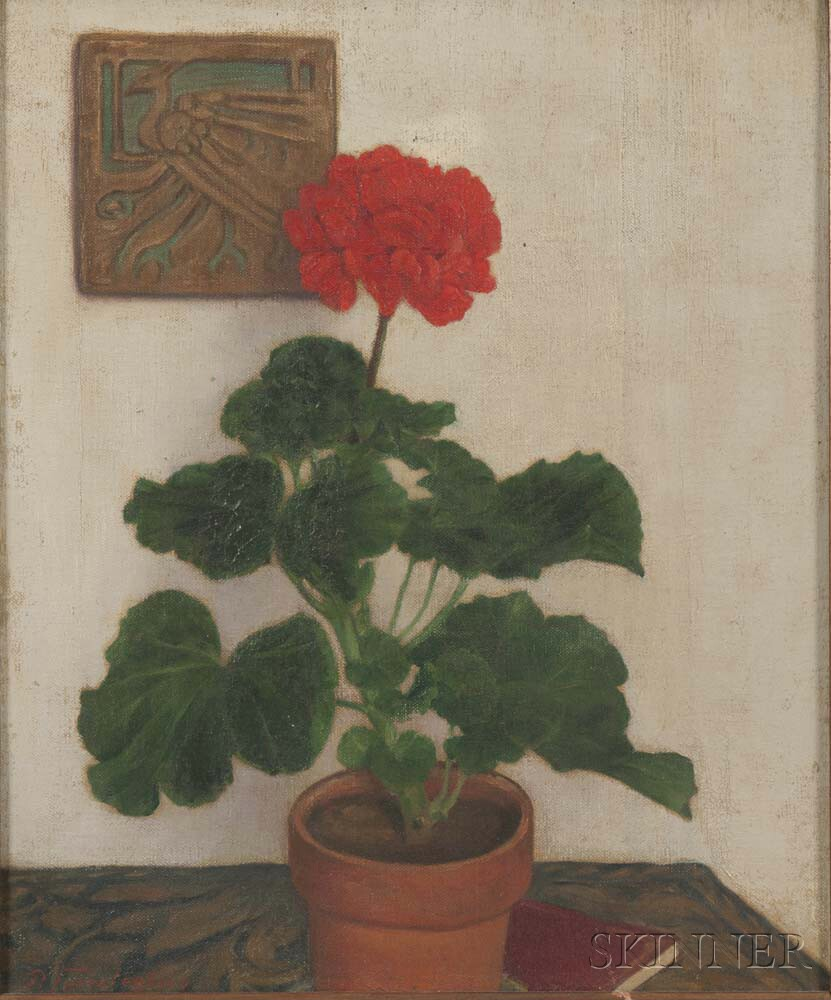 Paul W. Fuerstenberg (American, 1875-1953)      Still Life with a Red Geranium.