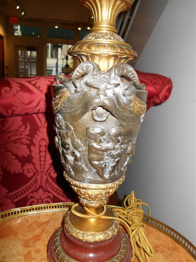 Pair of Baroque-style Bronze and Glass Lamps