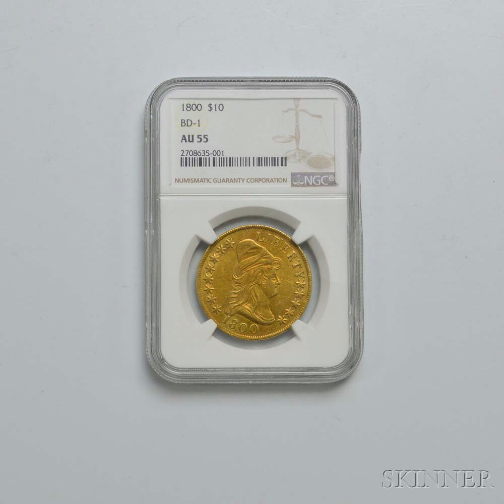 1800 $10 Draped Bust Gold Eagle, NGC AU55