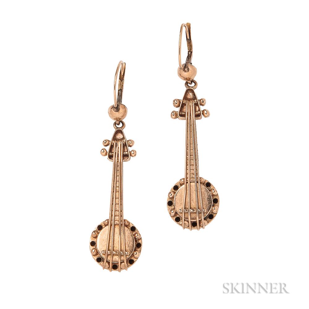"""Whimsical Gold """"Banjo"""" Earrings"""