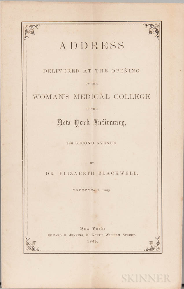 Blackwell, Elizabeth (1821-1910) Fourteen Pamphlets and Broadsheets, c. 1869-1901.