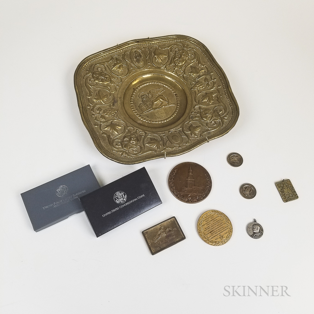 Small Group of Coins and Medals and a Repousse Brass Tray