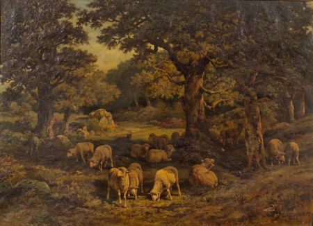 Charles Ferdinand Ceramano (Belgian, 1829-1909)    Shepherd and Flock Under a Shade Tree