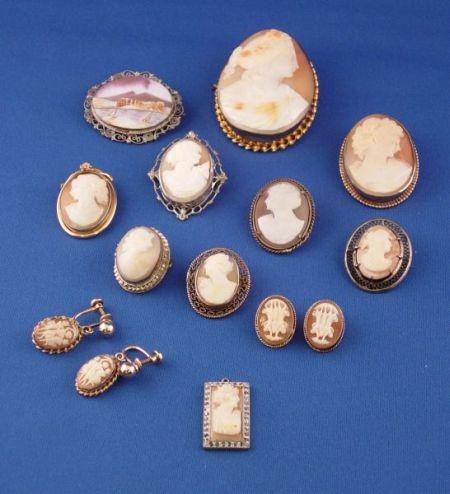 Twelve Carved Shell Cameos