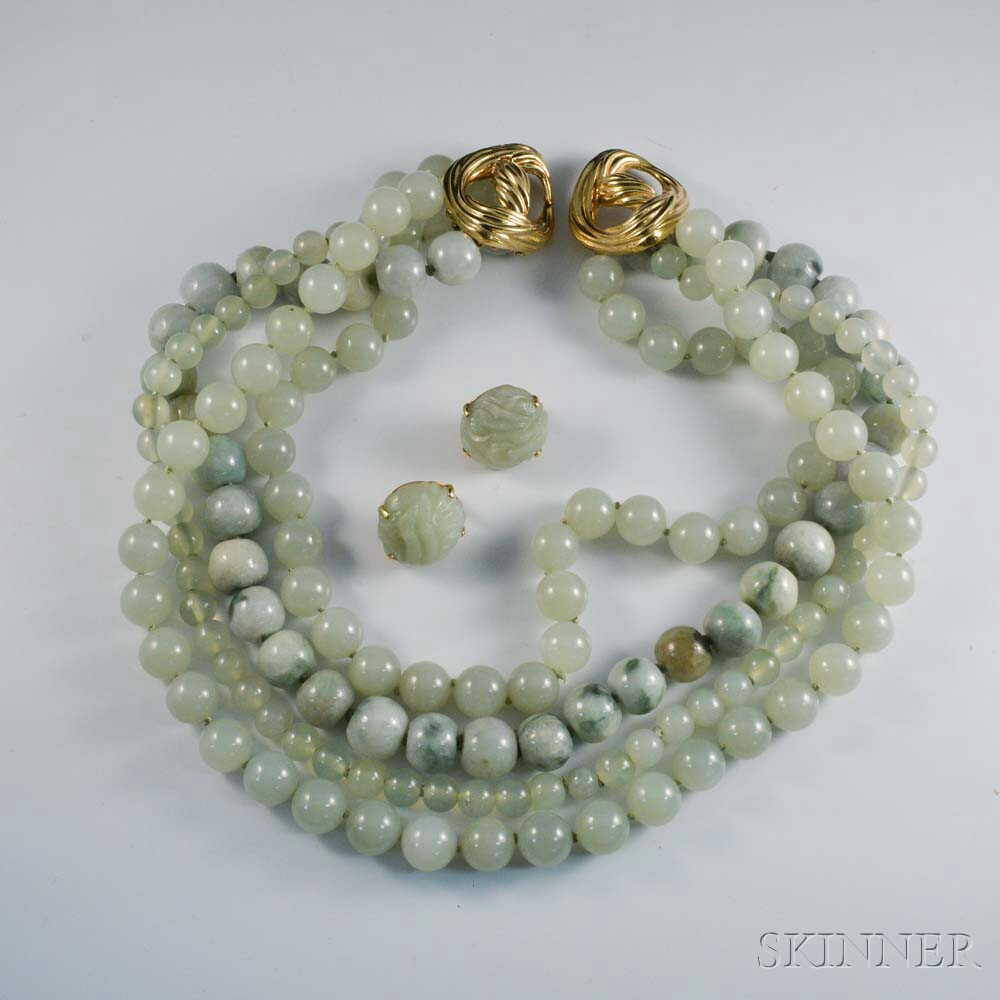 Tambetti Green Hardstone Four-strand Necklace and Carved Earrings Set