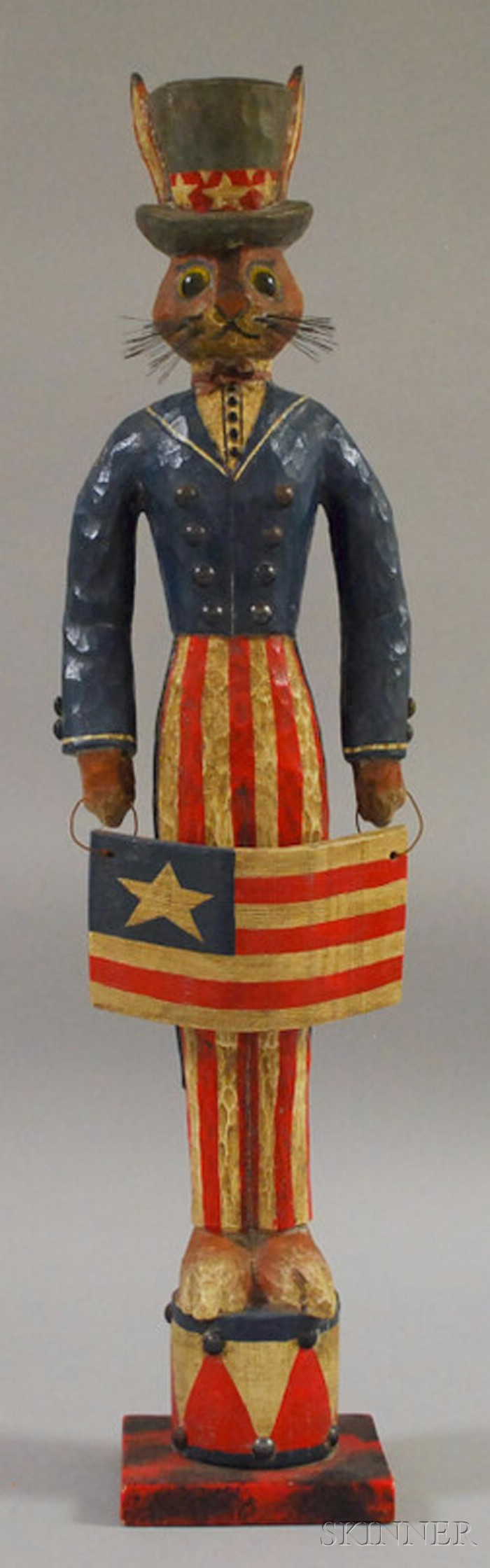 """P. Schifferl Folk Art Carved and Painted Wood """"Uncle Sam"""" Rabbit Figure"""