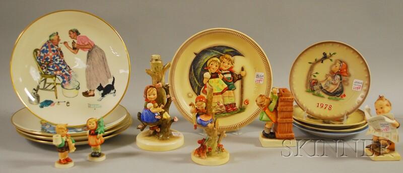 Eleven Goebel/Hummel Ceramic Items and a Set of Four Gorham/Norman Rockwell   Porcelain Plates