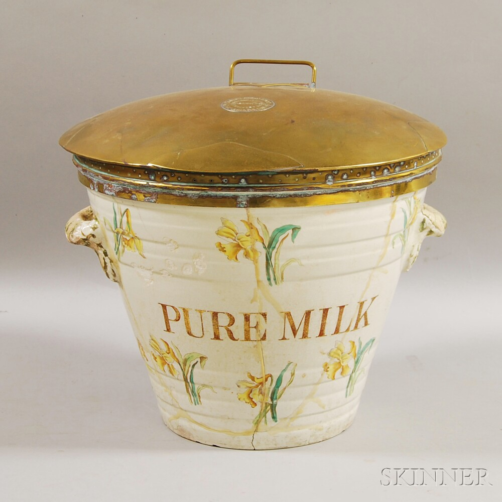 Floral-decorated Pottery and Brass Dairy Outfit Co. Milk Pail