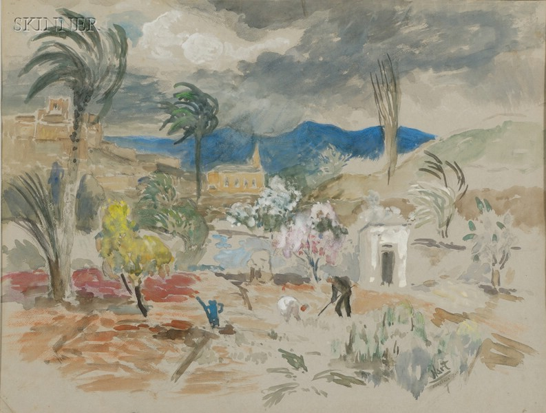 Pop (George Overbury) Hart (American, 1868-1933)      Mr. Borg in His Garden  /An Algerian Landscape