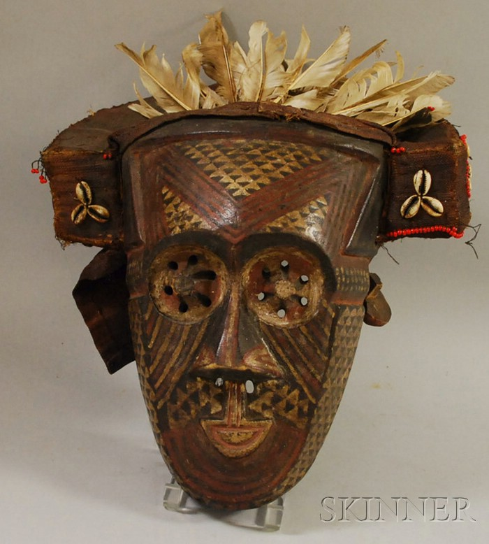 Kuba Carved Wooden and Painted Mask