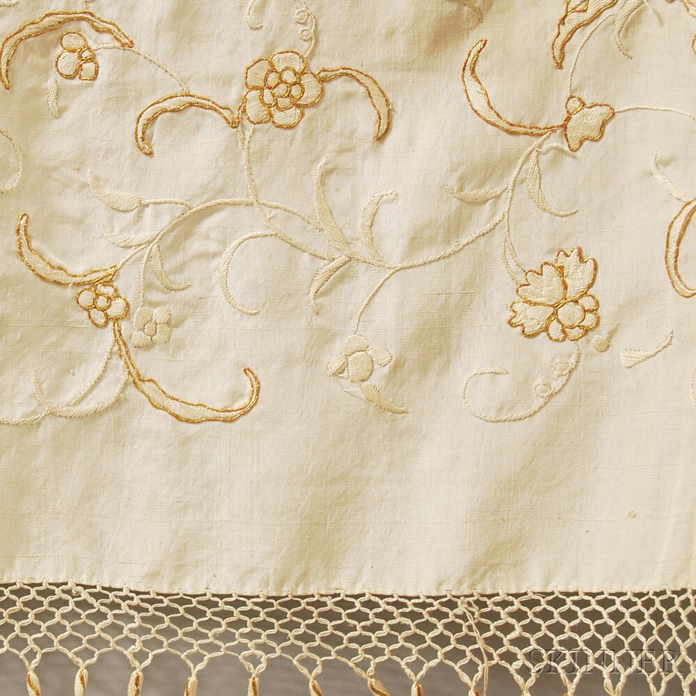 Two Ivory Silk Embroidered and Fringed Piano Shawls