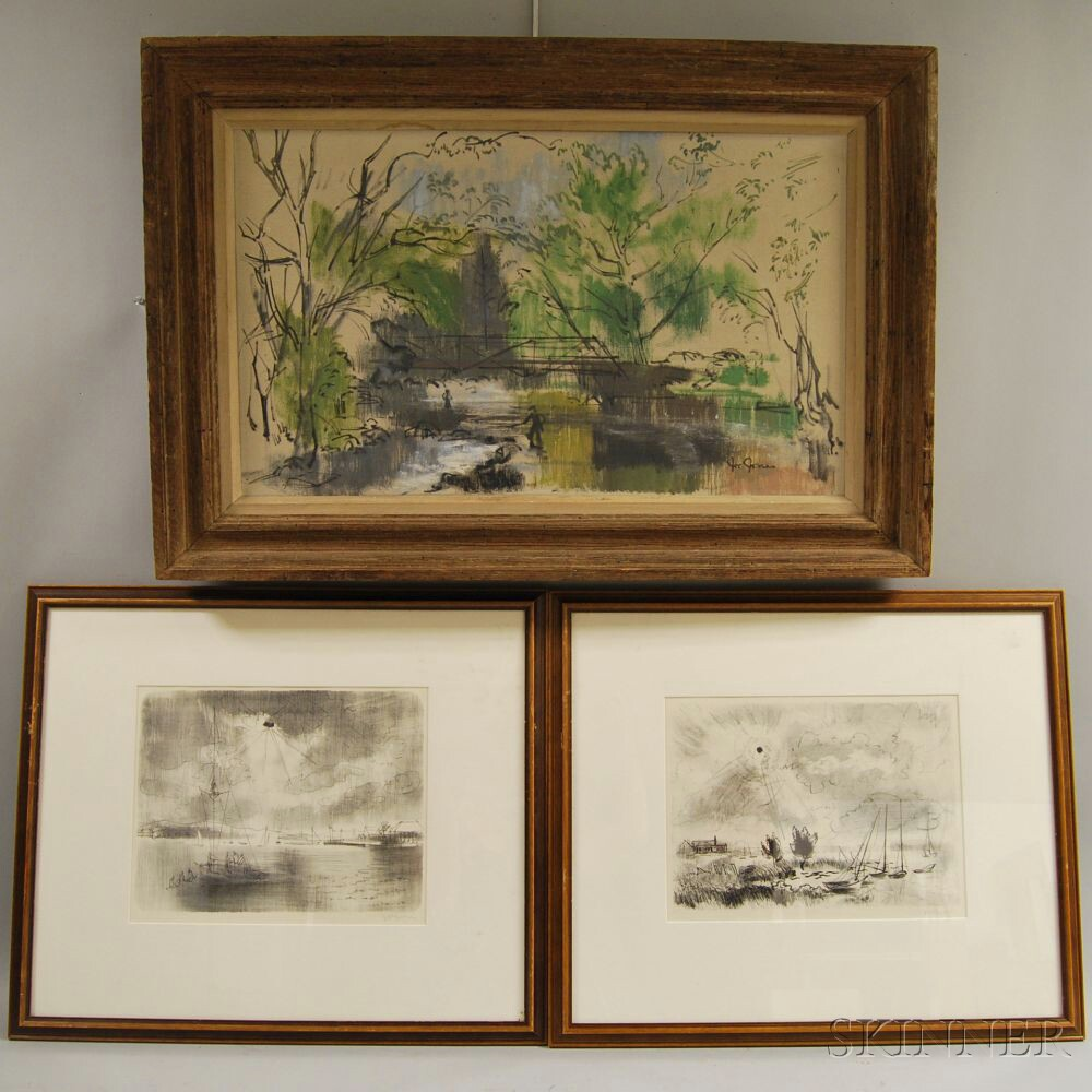 Joe (Joseph John) Jones (American, 1909-1963)    Three Works: Fisherman by a Stream, Reaching for the Sun