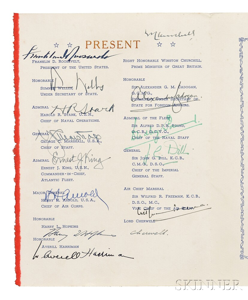Churchill, Winston (1874-1965), Franklin Delano Roosevelt (1882-1945), and Others. Signed Menu from the Atlantic Conference, 9 August 1