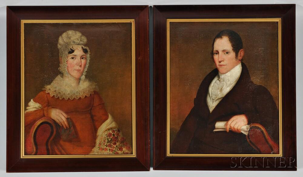 American School, 19th Century    Portraits of John Nielson and His Wife Lydia (Mendenhall), Harrisburg, Pennsylvania