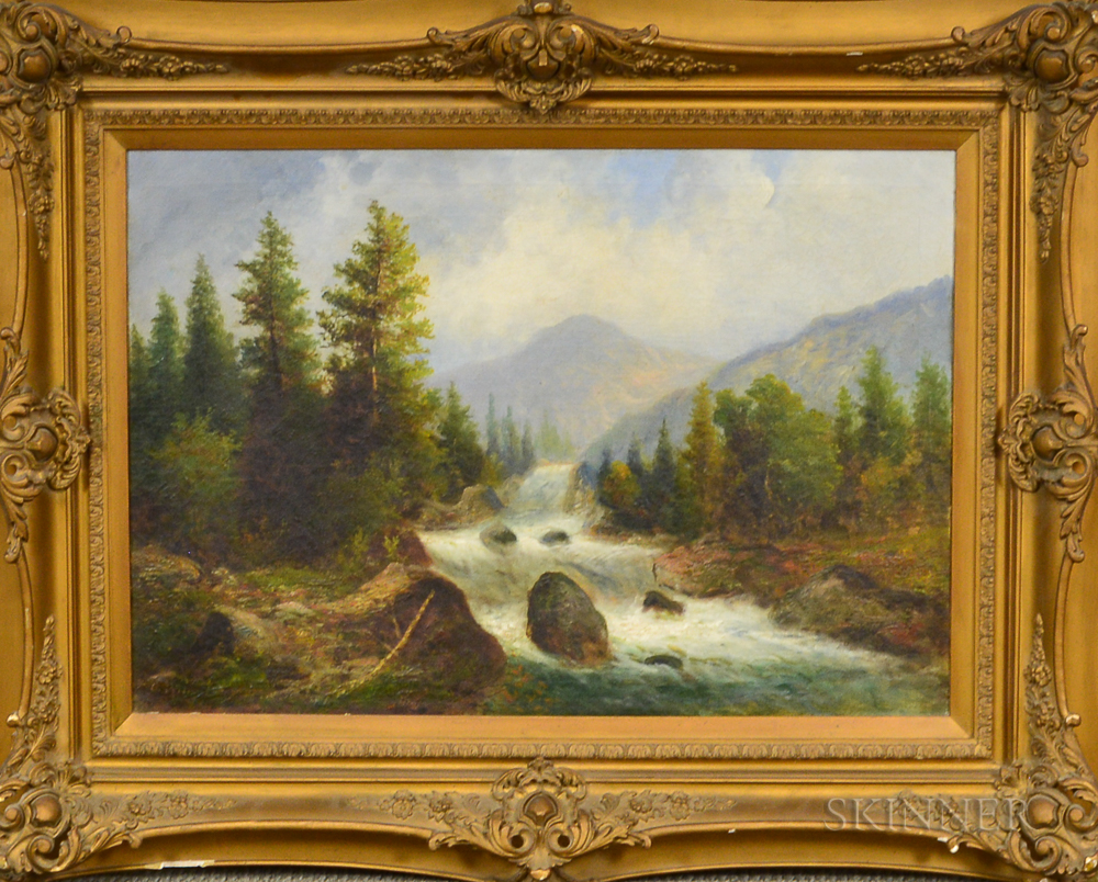 George W. Waters (American, 1832-1912)      Mountain Landscape, Thought to be Mount Washington, with Rushing River