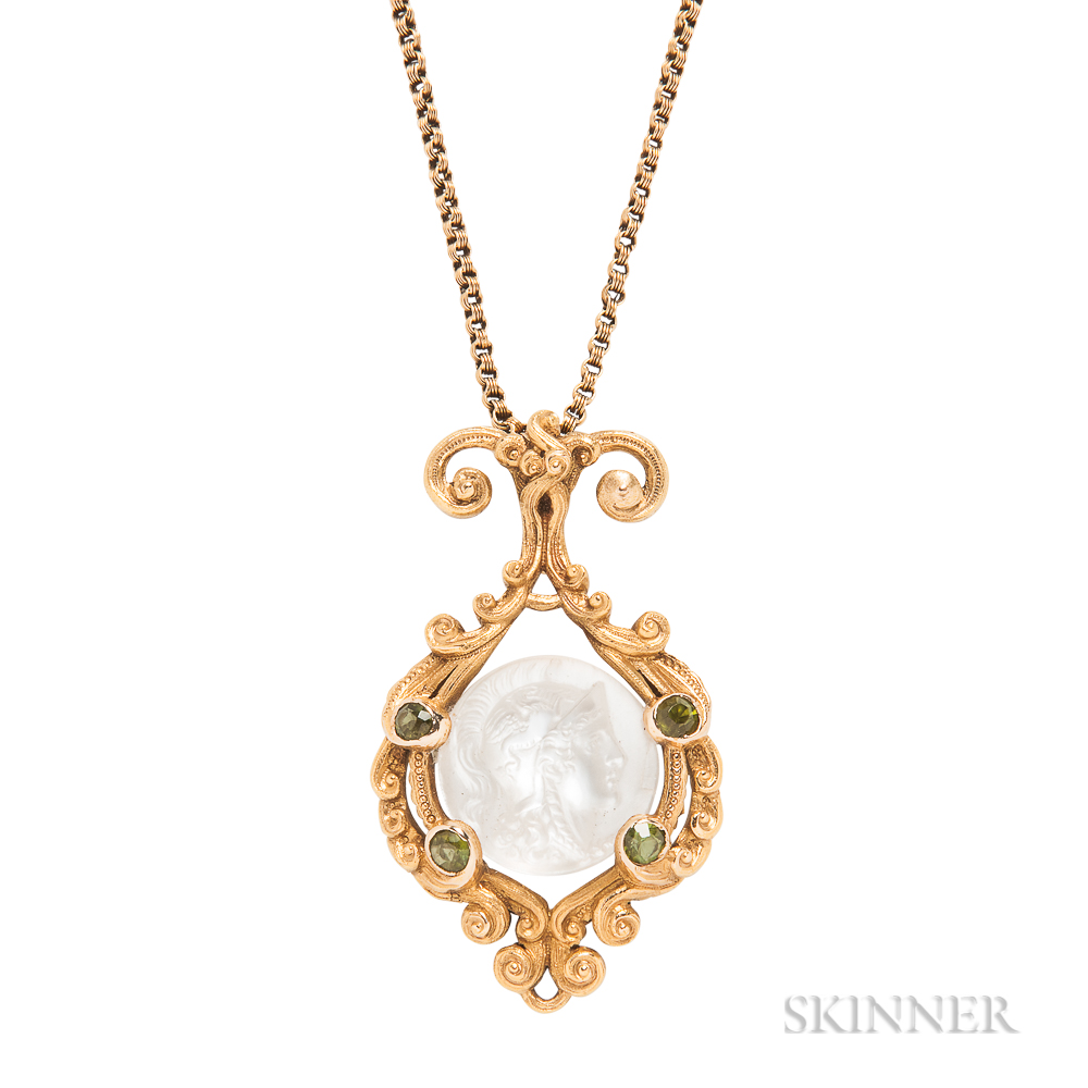 Art Nouveau 18kt Gold and Carved Moonstone Pendant