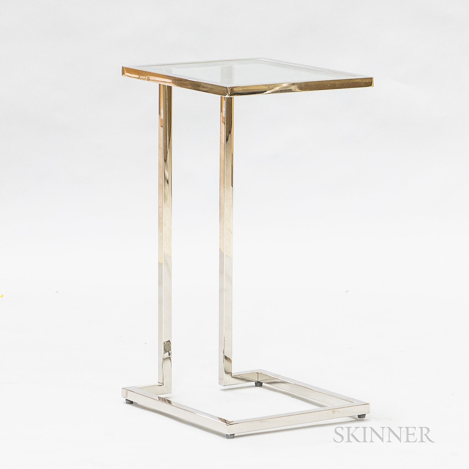 Eileen Gray-type Modern Glass and Steel Stand