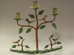 Folk Painted Wrought Iron Tree-form Candelabra