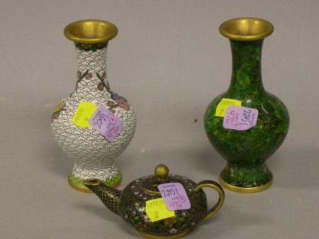 Two Chinese Cloisonne Vases and a Small Teapot.