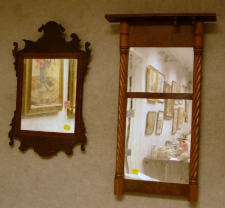 Small Chippendale Mahogany Mirror and a Country Classical Carved Mahogany Tabernacle Mirror.