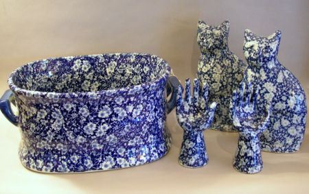 Group of Staffordshire-style Blue and White Floral Transfer Pattern Items