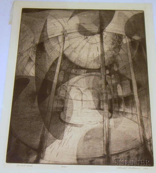 Unframed Etching Concert Hall   by Richard E. Williams