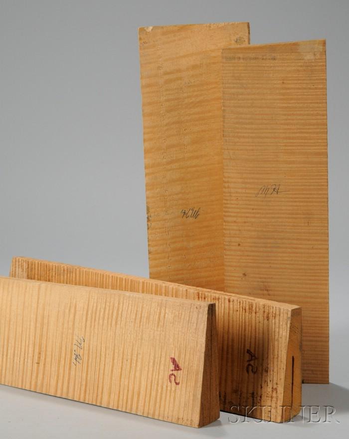 Four Two-Piece Quartersawn Maple Violin Backs, c. 1950