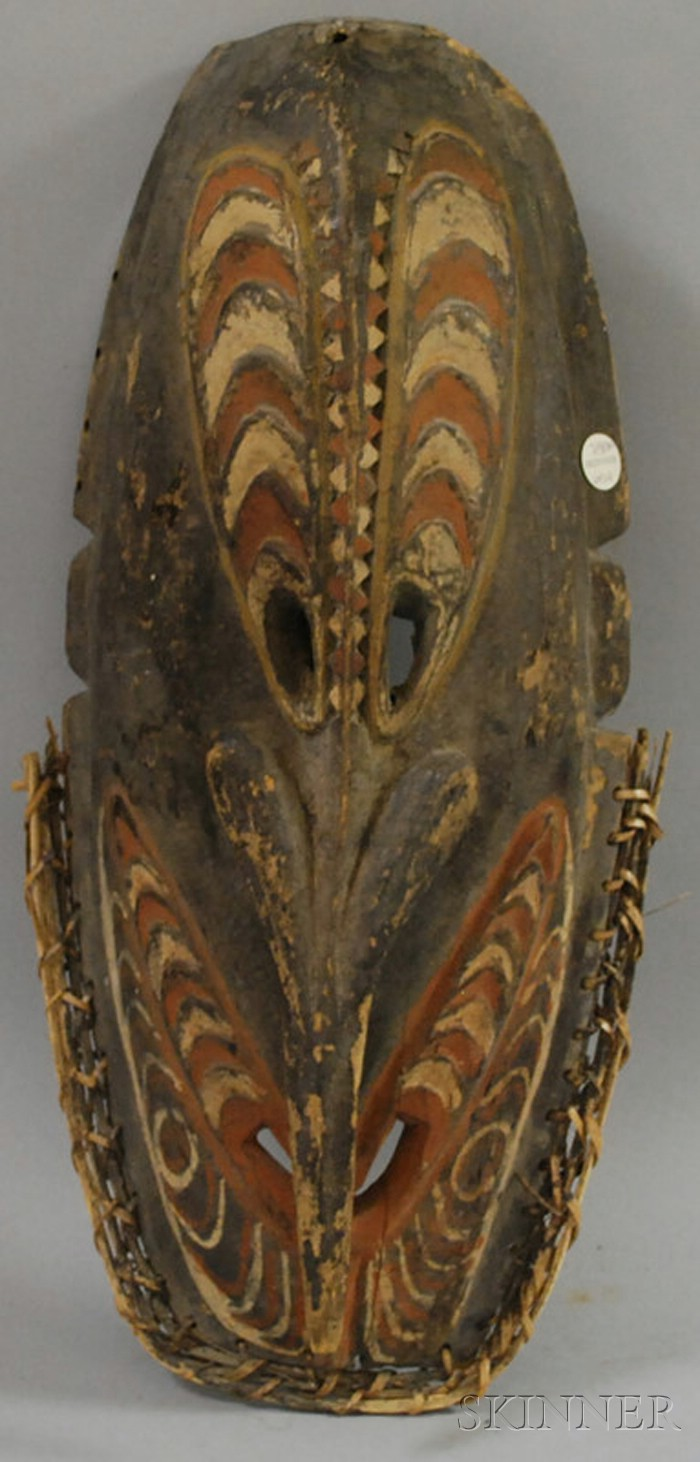 Carved Polychrome New Guinea Mask