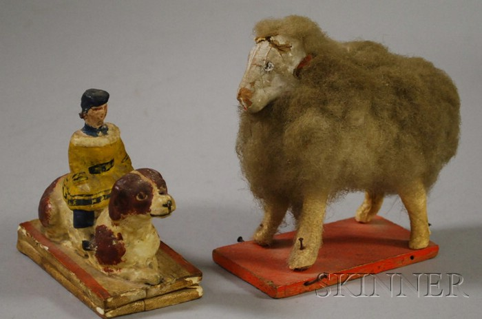 Papier-mache Child and Dog Figural Squeak-toy and Sheep Pull-toy