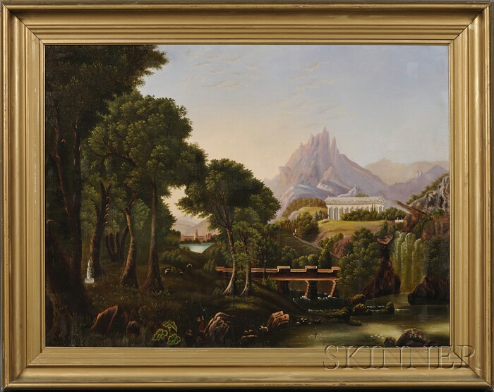 "American School, 19th Century, After Thomas Cole (American, 1801-1848)      Allegorical Landscape ""The Dream of Arcadia."""