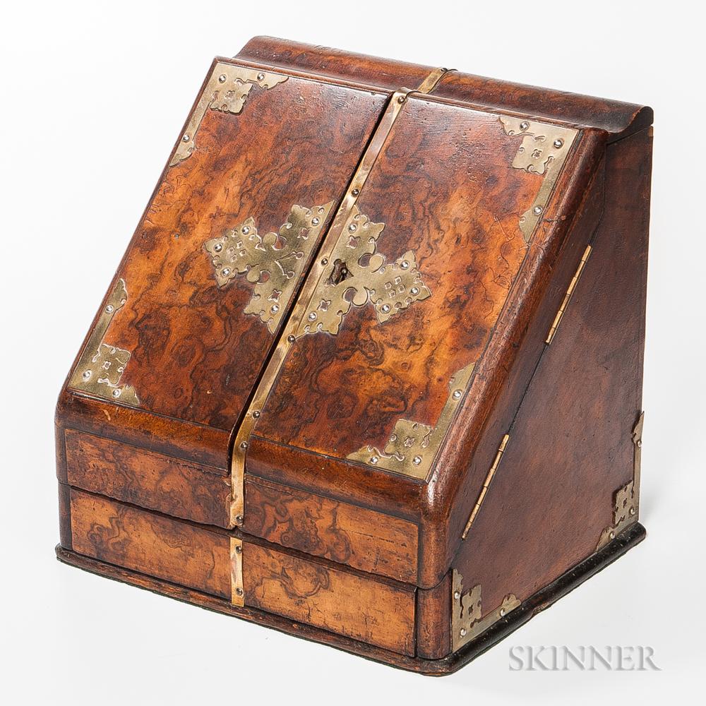 Brass-mounted Burl Veneer Letter Box