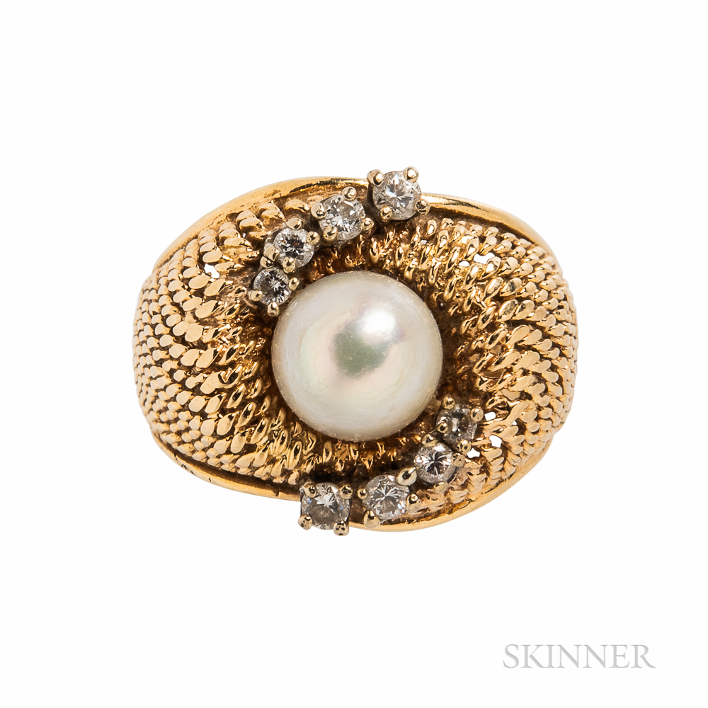 14kt Gold, Cultured Pearl, and Diamond Ring