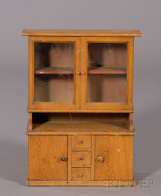 Miniature Mustard-colored Grain-painted Doll Cupboard