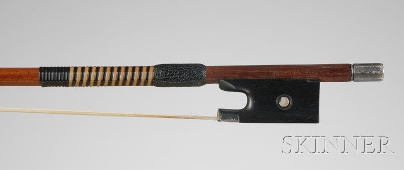 French Silver Mounted Violin Bow, Eugene Sartory