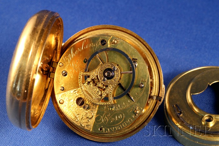22kt Gold Pair-Cased Rack Lever Watch by P. Litherland & Company