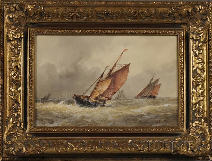 Frederick James Aldridge (British, 1850-1933)      A Rough Sea