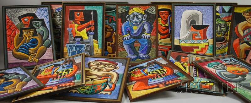 Raphael Moises (Mexican, 20th Century)      Fifteen Pre-Columbian-style Abstract Figures and Still Lifes.