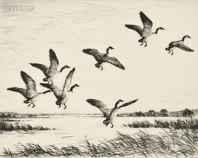 Hans Kleiber (American/German, 1887-1967)      A Flock of Honkers