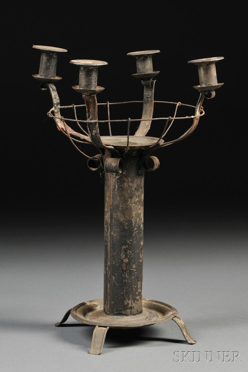 Four-light Tinware Centerpiece Candelabra