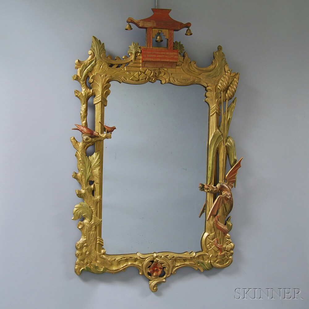 Chinese Chippendale-style Gilt Pagoda Mirror