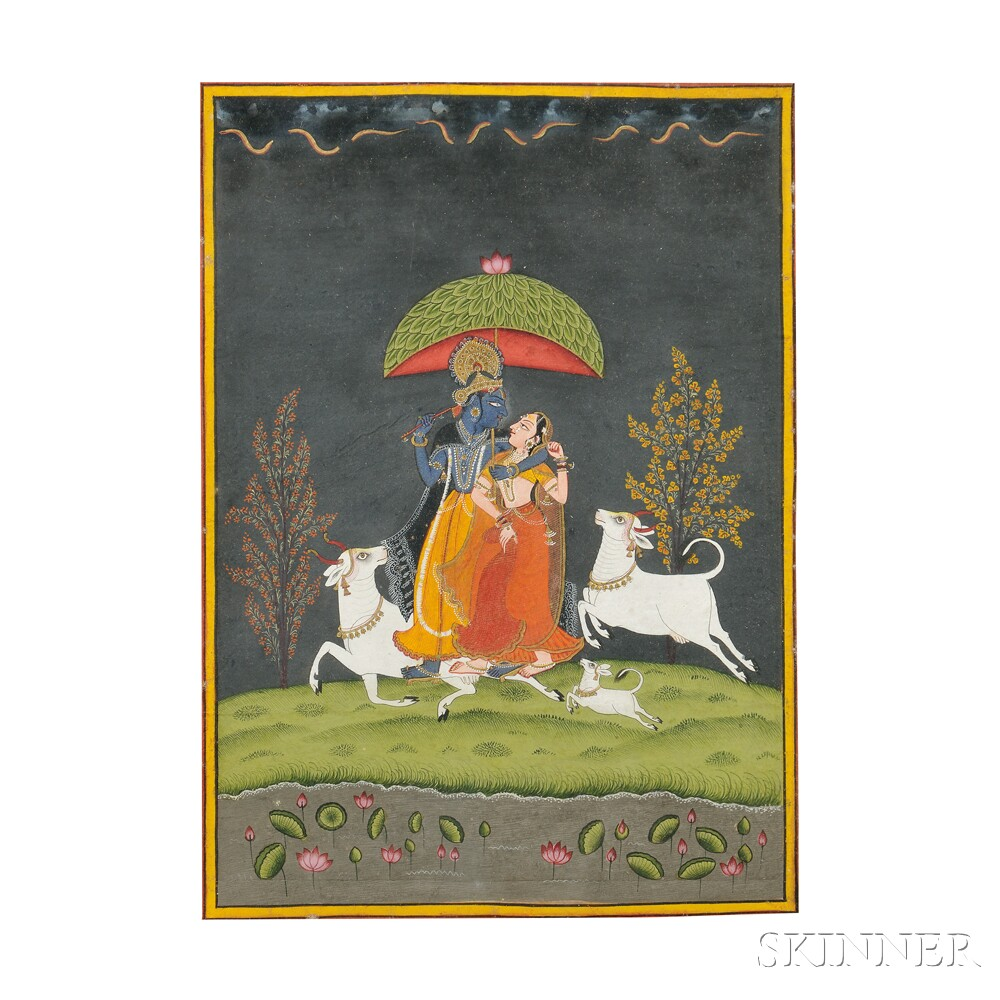 Miniature Painting Depicting Radha and Krishna