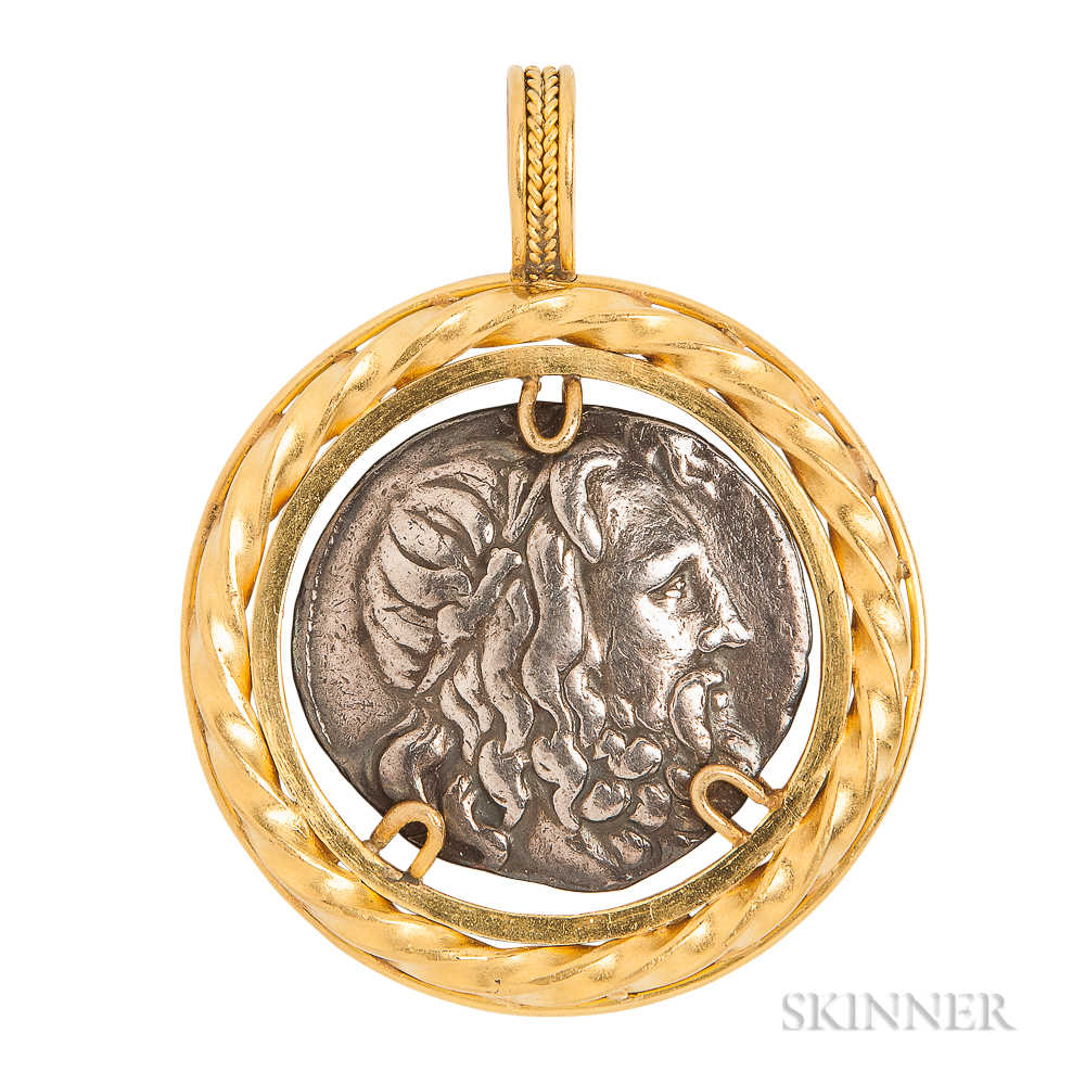 Hight-karat Gold and Ancient Silver Coin Pendant
